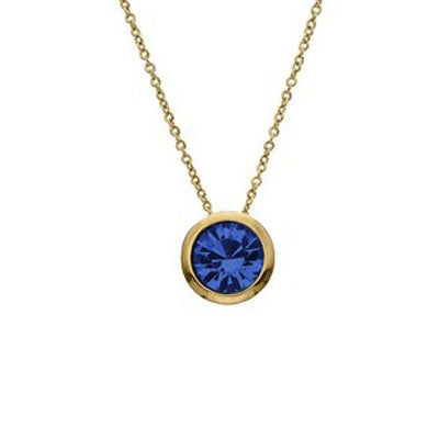 Crystal Colors Crystal Luxe Gold Plated Swarofski Sapphire Crystal Birthstone Necklace