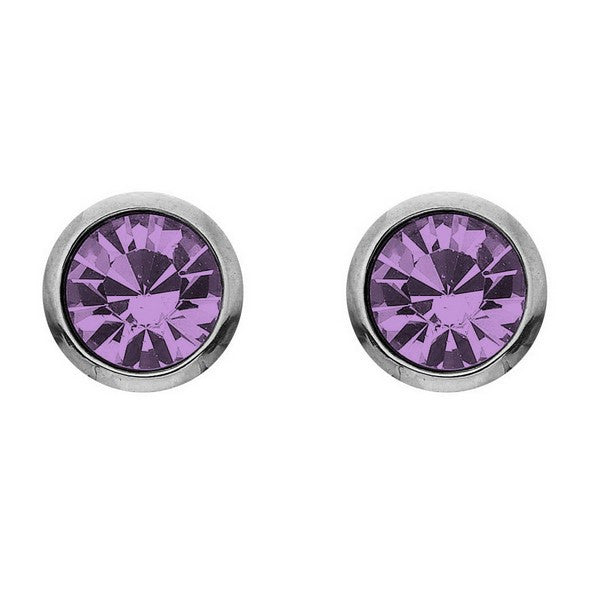 Crystal Colors Crystal Luxe Silver Plated Swarofski Light Amethyst Crystal Birthstone Earring