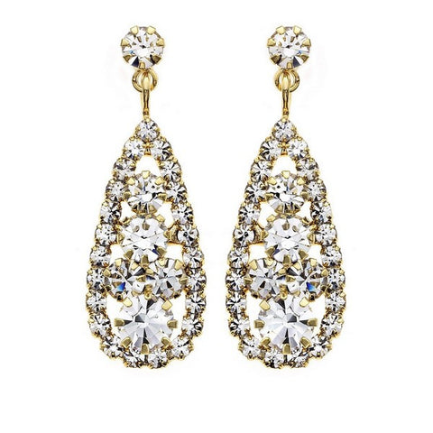 14KT Gold Plated Teardrop Crystal Filled Earring