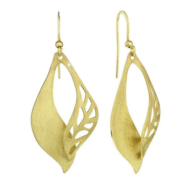 Etched Gold Tone Overlapping Elliptical Single Sided Etched Earring