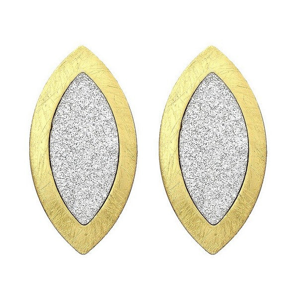 Etched Gold Tone Almond Shaped Double Layer Crystalized Earring