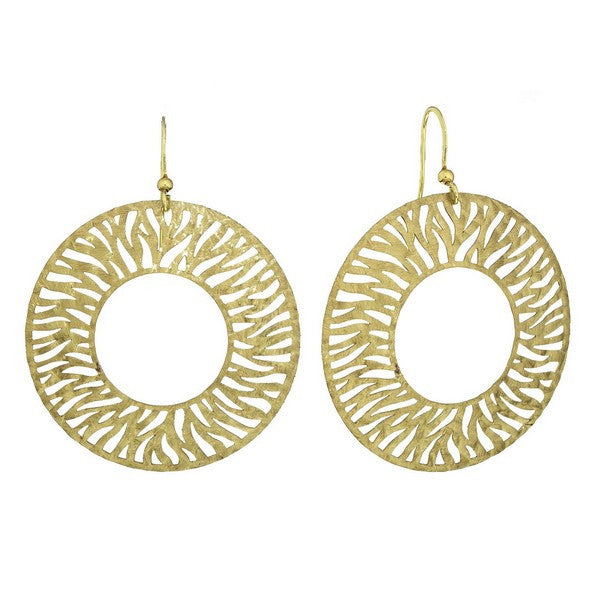 Etched Gold Tone Circle Disc Etched Earring