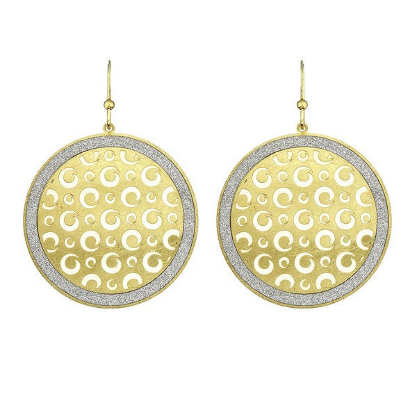 Etched Gold Tone Metal Dial Swirl Cutout Circle Earring