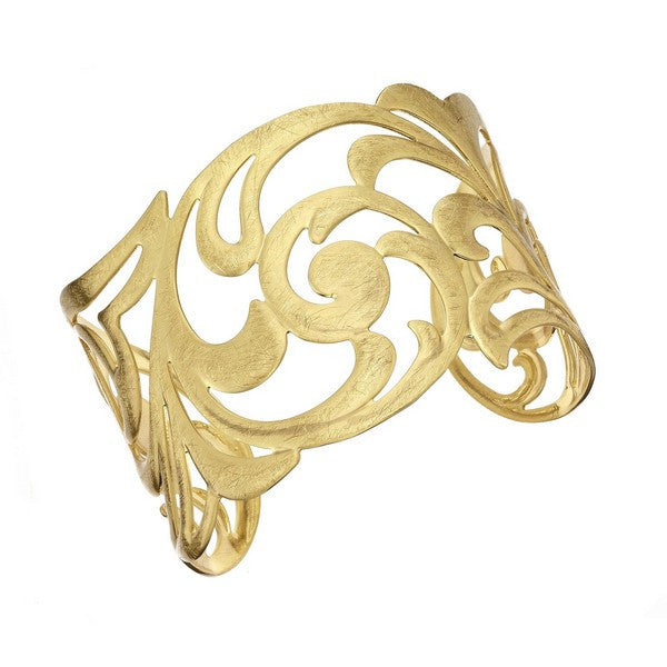 Etched Gold Tone Paisley Cuff Bangle