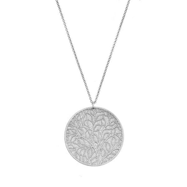 Etched Silver Tone Tree-of-Life Circle Pendant Necklace