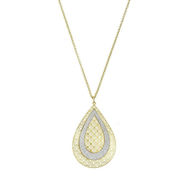 Etched Gold Tone Concave Crystalized Tear Drop Pendant Necklace
