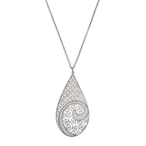 Etched Silver Tone Concave Crystalized Swirl Large Tear Drop Pendant Necklace