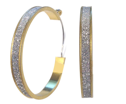 Etched Gold Matte Tone 40mm Glitter Finished Hoop Earring