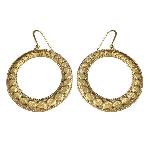 Etched Gold Matte Tone 35mm Open Circle Dangle Earring