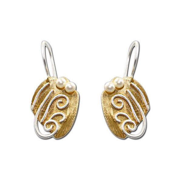 SilverTones Handmade Silver 14KT Gold and Fine Silver Plate Acorn Earring with Silver Scroll