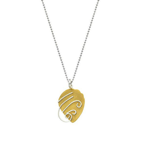 SilverTones Handmade Silver 14KT Gold and Fine Silver Plate Acorn with Silver Scroll Pendant Necklace