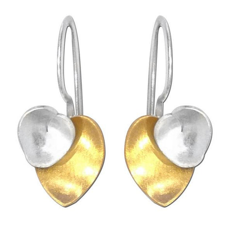 SilverTones Handmade Silver 14KT Gold and Fine Silver Plated Abstract Double Heart Earring