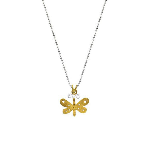 SilverTones Handmade Silver 14KT Gold and Fine Silver Plated Butterfly Pendant with Chain