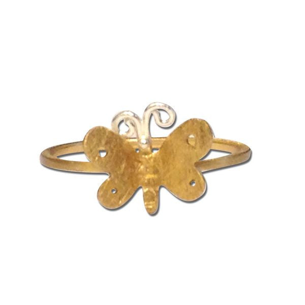 SilverTones Handmade Silver 14KT Gold and Fine Silver Plated Butterfly Ring