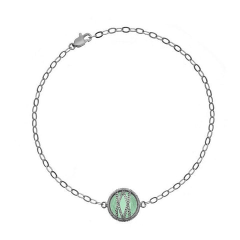 Laurium Lynx Sterling Silver Hand Wrapped Single Round Green Onyx Stone Bracelet