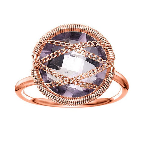 Laurium Lynx Rose Gold Over Sterling Silver Hand Wrapped Round Amethyst Stone Ring