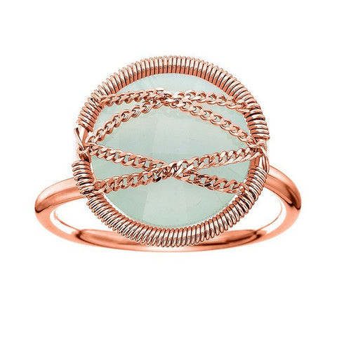 Laurium Lynx Rose Gold Over Sterling Silver Hand Wrapped Round Chalcedony Stone Ring