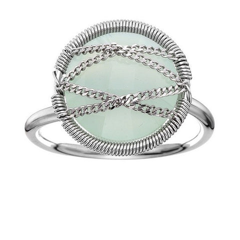 Laurium Lynx Sterling Silver Hand Wrapped Round Chalcedony Stone Ring