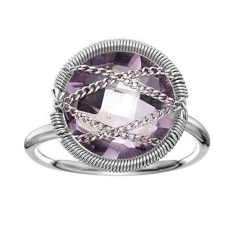 Laurium Lynx Sterling Silver Hand Wrapped Round Amethyst Stone Ring