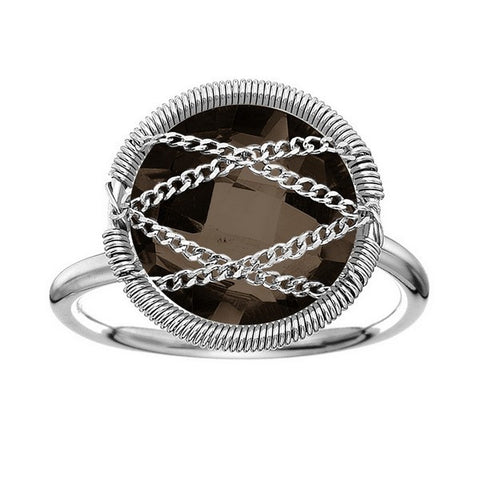 Laurium Lynx Sterling Silver Hand Wrapped Round Smoky Quartz Stone Ring