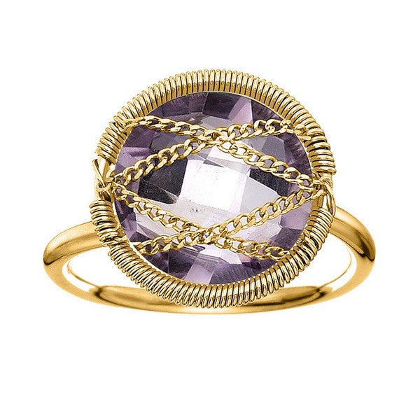 Laurium Lynx 18KT Gold Over Sterling Silver Hand Wrapped Round Amethyst Stone Ring