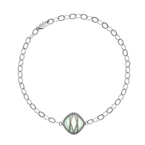 Laurium Lynx Sterling Silver Hand Wrapped Single Squared Chalcedony Stone Bracelet