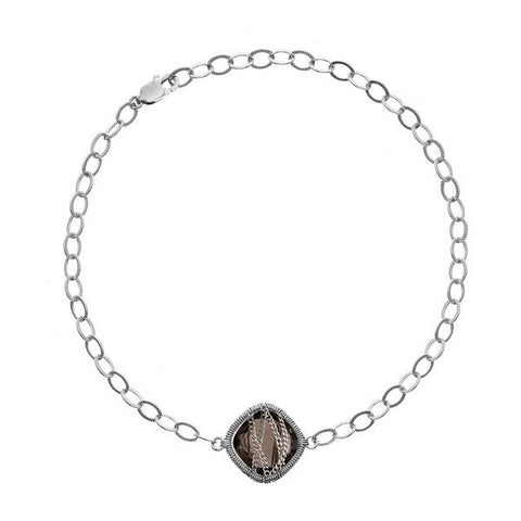 Laurium Lynx Sterling Silver Hand Wrapped Single Squared Smoky Quartz Stone Bracelet