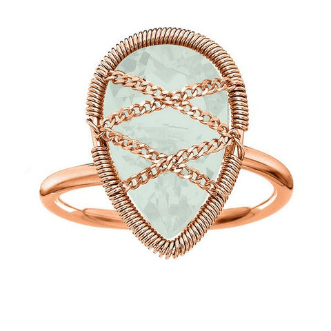 Laurium Lynx Rose Gold Over Sterling Silver Hand Wrapped Teardrop Chalcedony Stone Ring