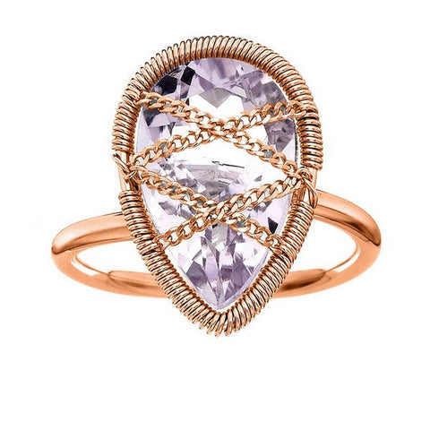 Laurium Lynx Rose Gold Over Sterling Silver Hand Wrapped Teardrop Amethyst Stone Ring