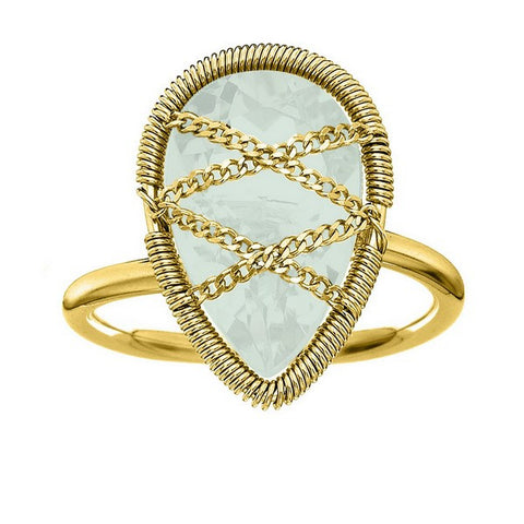 Laurium Lynx 18KT Gold Over Sterling Silver Hand Wrapped Teardrop Chalcedony Stone Ring