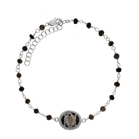Laurium Lynx Sterling Silver Hand Wrapped Beaded Smoky Quartz Stone Bracelet