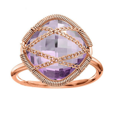 Laurium Lynx Rose Gold Over Sterling Silver Hand Wrapped Squared Amethyst Stone Ring