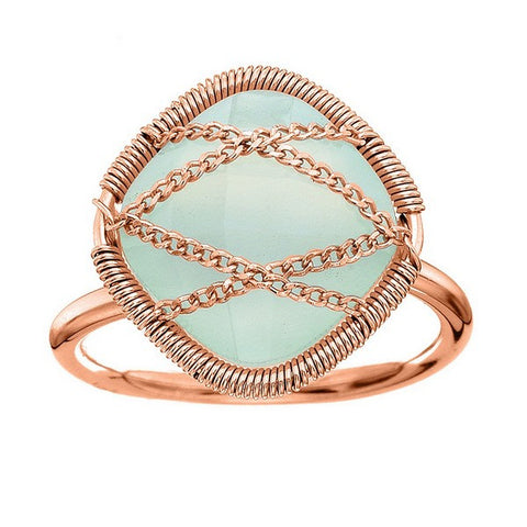 Laurium Lynx Rose Gold Over Sterling Silver Hand Wrapped Squared Chalcedony Stone Ring