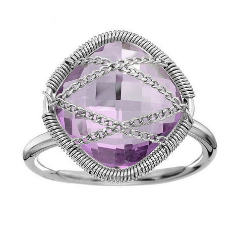Laurium Lynx Sterling Silver Hand Wrapped Squared Amethyst Stone Ring