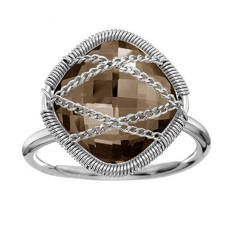 Laurium Lynx Sterling Silver Hand Wrapped Squared Smoky Quartz Stone Ring