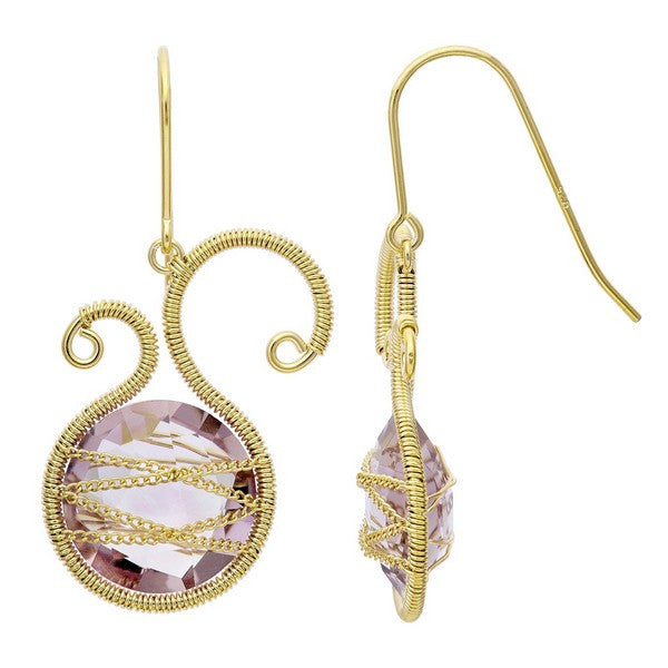Laurium Lynx 18KT Gold Over Sterling Silver Hand Wrapped Asymmetric Amethyst Stone Earring