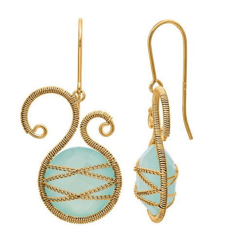 Laurium Lynx 18KT Gold Over Sterling Silver Hand Wrapped Asymmetric Chalcedony Stone Earring