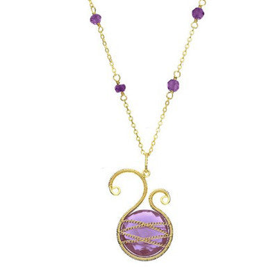 Laurium Lynx 18KT Gold Over Sterling Silver Hand Wrapped Asymmetric Amethyst Stone Beaded Pendant Necklace