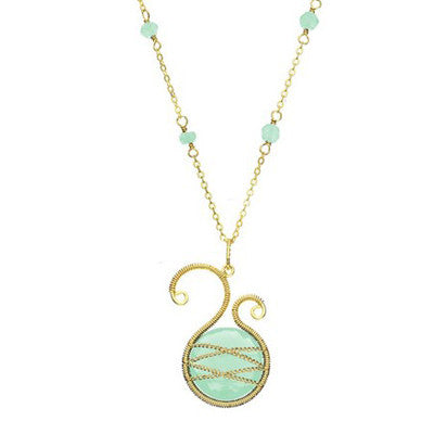 Laurium Lynx 18KT Gold Over Sterling Silver Hand Wrapped Asymmetric Chalcedony Stone Beaded Pendant Necklace