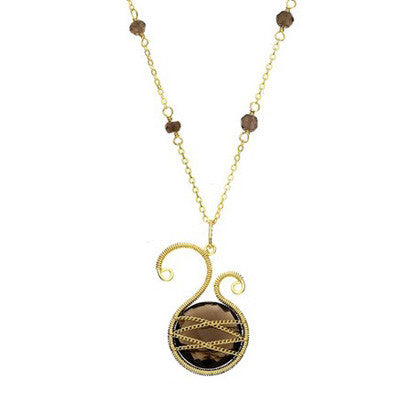 Laurium Lynx 18KT Gold Over Sterling Silver Hand Wrapped Asymmetric Smoky Quartz Stone Beaded Pendant Necklace
