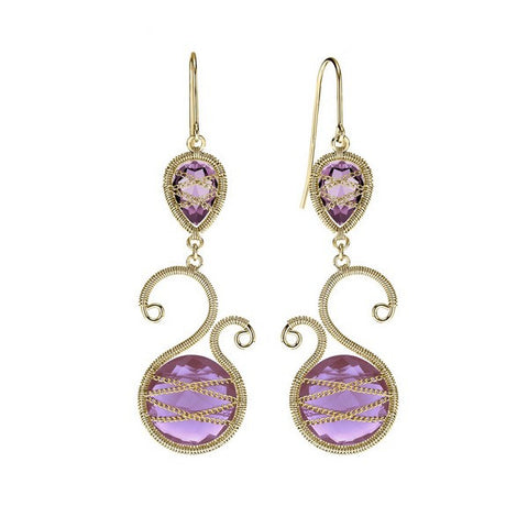 Laurium Lynx 18KT Gold Over Sterling Silver Hand Wrapped Asymmetric And Teardrop Amethyst Stone Earring