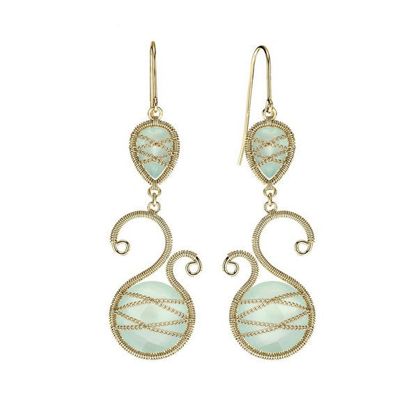 Laurium Lynx 18KT Gold Over Sterling Silver Hand Wrapped Asymmetric And Teardrop Chalcedony Stone Earring