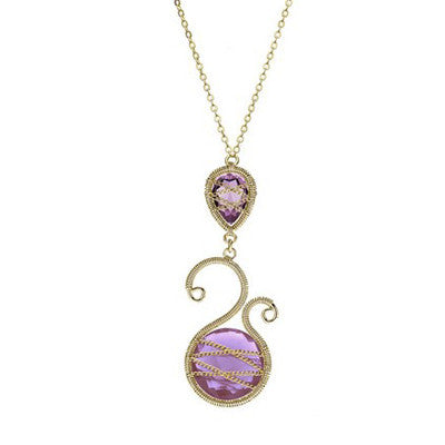 Laurium Lynx 18KT Gold Over Sterling Silver Hand Wrapped Asymmetric And Teardrop Amethyst Stone Pendant Necklace