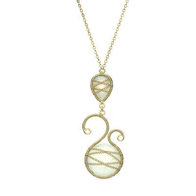 Laurium Lynx 18KT Gold Over Sterling Silver Hand Wrapped Asymmetric And Teardrop Chalcedony Stone Pendant Necklace