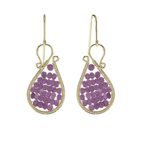 Laurium Lynx 18KT Gold Over Sterling Silver Hand Wrapped Asymmetric Beaded Amethyst Stone Earring