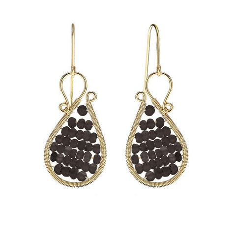 Laurium Lynx 18KT Gold Over Sterling Silver Hand Wrapped Asymmetric Beaded Smoky Quartz Stone Earring