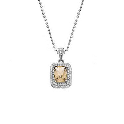 Rebecca Sloane Platinum Plated Sterling Silver Cushion Cut Citrine Pave CZ Pendant Necklace