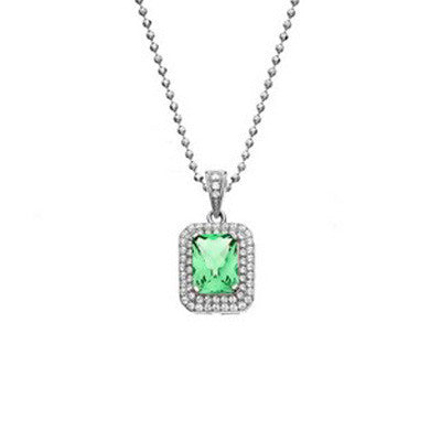 Rebecca Sloane Platinum Plated Sterling Silver Cushion Cut Green Obsidian Pave CZ Pendant Necklace