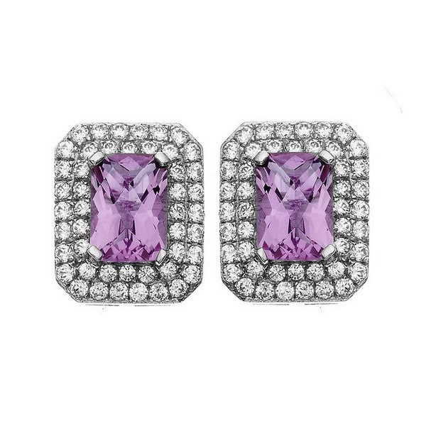 Rebecca Sloane Platinum Plated Sterling Silver Cushion Cut Amethyst Pave CZ Earring