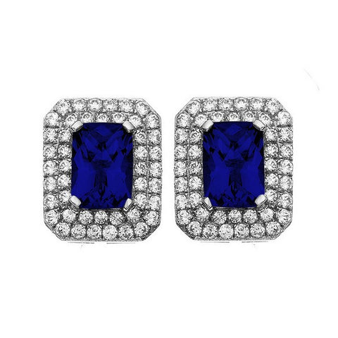 Rebecca Sloane Platinum Plated Sterling Silver Cushion Cut Blue Obsidian Pave CZ Earring